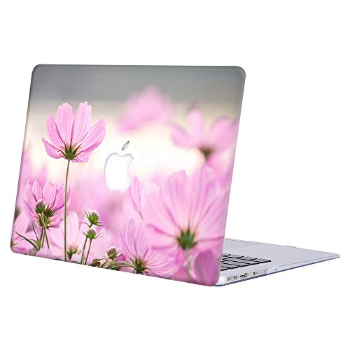 MacBook Air 13 inch Case 2020 2019 2018 Release A2179 A1932, AJYX Protective Snap On Hard Shell Cover Compatible with New MacBook Air 13 inch with Retina Display & Touch ID, Pink Flower