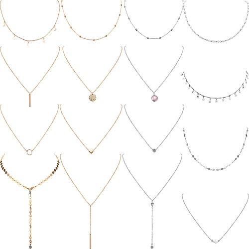 Yaomiao 16 Stück Geschichteten Choker Halskette Einstellbar Anhänger Halskette Mond Pailletten Choker Mehrschichtige Kette Halskette Set für Damen Mädchen (Silber und Gold)