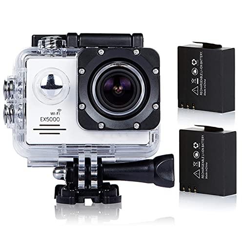 Action Cam Wasserdicht, Original EX5000 Action Kamera 14MP 30FPS WiFi Actionkamera 30M Unterwasserkamera Sportkamera Full HD 170 ° Weitwinkel Actioncam - Weiß