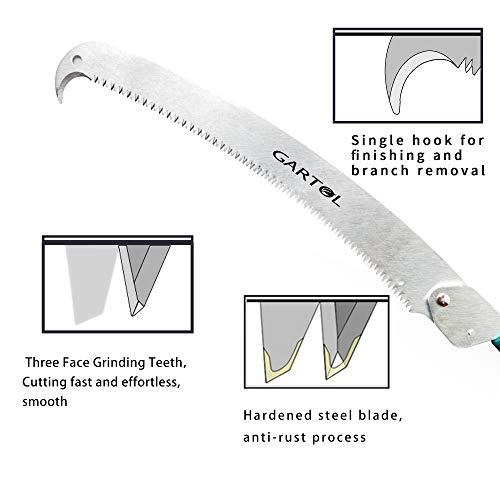 GARTOL Telescopic Pole Saw - 3.7-8.8 ft Extension Pole Tree Pruner Pruning Saw with 1.59 ft 3-Sides Razor-Toothed Blade, Comfortable Foam Grip and Lightweight Durable Aluminum Alloy Extendable Pole