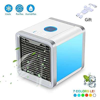 GHONLZIN Mini Air Cooler, 2019 New Mini Air Conditioner, Portable Cooler Fan Air Conditioner Cooler for Home with New Filter Paper (2 Generation-Upgrade)