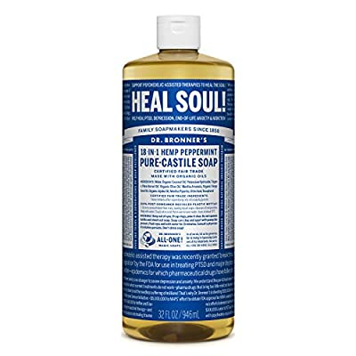 Dr. Bronner's - Pure-Castile Liquid Soap (Peppermint, 32 ounce) - Made with Organic Oils, 18-in-1 Uses: Face, Body, Hair, Laundry, Pets and Dishes, Concentrated, Vegan, Non-GMO