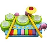 TOYANDONA Tastiera per Pianoforte Xilofono Giocattoli Set Tamburo Bambino Strumento a Percussione Giocattolo Strumento Musicale Giocattolo per Bambini Giocattoli Regalo per Bambini Neonati