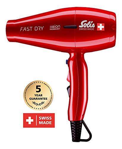 Solis Profi Haarföhn, 3 Temperatur- und Gebläsestufen, Kaltluft-Taste, AC-Motor, 2200 Watt, Ionen-Technologie, Fast Dry (Typ 381), Rot