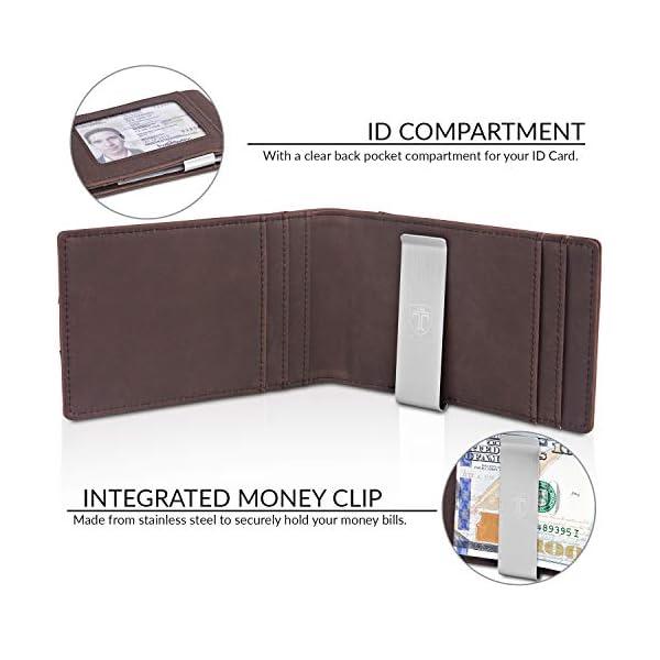 TRAVANDO Money Clip Wallet ATLANTA Mens Front Pocket Slim RFID Blocking – Credit Card Holder – Mini Bifold, Vintage Brown