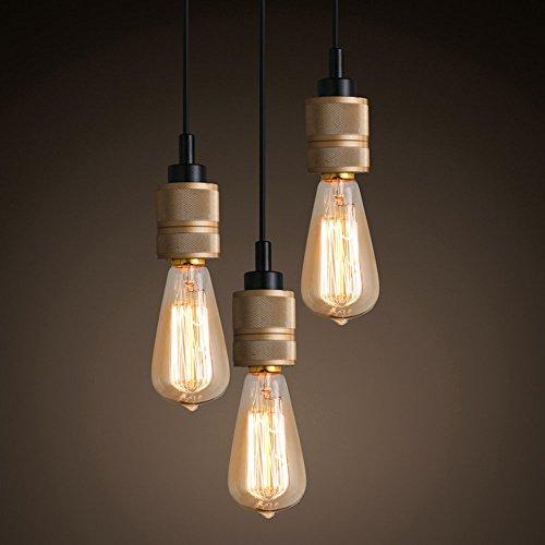 TLX-LAMP Hanglamp, vintage, metaal, hanglamp, industriële verlichting, 3 lampen, in hoogte verstelbaar, voor lounge, restaurants, kelder, bars, hal, dakkoffer E27
