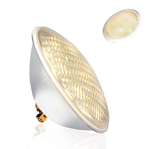 KOLLNIUN LED Poolbeleuchtung, PAR56 Unterwasserleuchten, Warmweiß Schwimmbadleuchten, IP68 Wasserdicht Poolscheinwerfer, 40W 12V AC/DC Unterwasser Beleuchtung