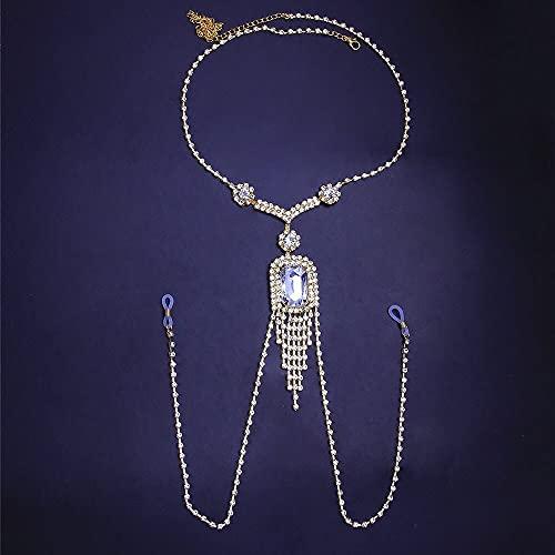 baidicheng Cadena de pezón rectangular de cristal grande para pezón, joyería no perforada, cadena de cuerpo con diamantes de imitación (color metal: dorado)