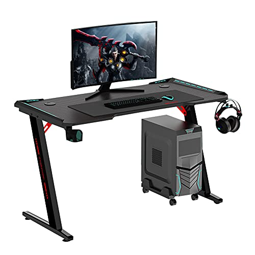 Mesa Gaming Escritorio Ergonomico con LED RGB,140 x 60cm Grand Madera Mesa Escritorio,Gaming Desk con Alfombrilla de Ratón, Portavasos y Gancho para Auriculares