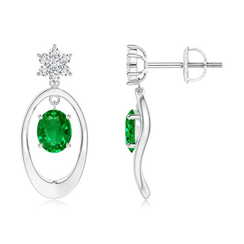 Puede Birthstone–Oval enmarcado Natural Esmeralda solitario pendientes para las mujeres con diamond flores acento