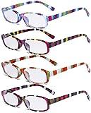 Eyekepper 4 Pack Occhiali da Lettura Moda Le signore - Design a Strisce Occhiali da Vista con Lenti Piccola per Donna Lettura +2.50