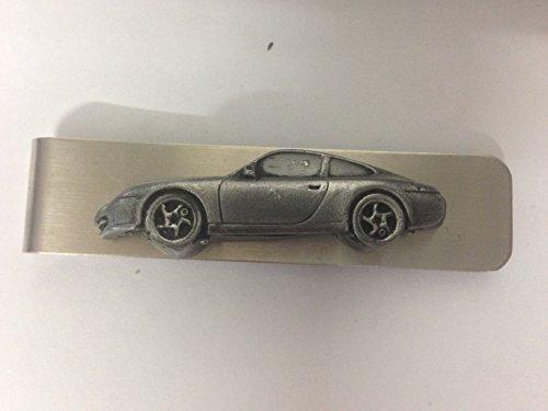Geldscheinklammer aus Edelstahl, Motiv: Porsche 911 (Typ 996), Zinn-Emblem mit 3D-Effekt, ref195