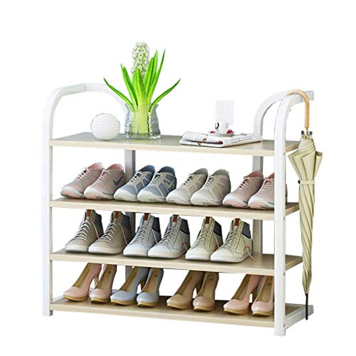 Zapatero de 70 cm de ancho Estantes de almacenamiento Organizador vertical de estantes para plantas Marco de hierro blanco + Tablero de madera Ideal para pasillos, baños, salas de estar y pasillos70X27X70CM