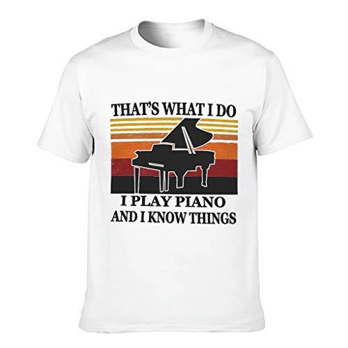 COMBON Shop Camiseta de algodón para hombre con diseño de piano Know Things - Music Hobby Summer Leisure Top