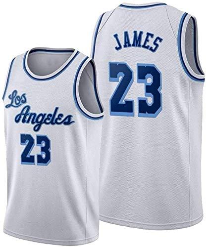 Lakers # 23 James El Mismo Estilo Baloncesto de los Hombres Jersey Blanco Sin Mangas Deportes Chaleco Team Capting Training Sportswear S ~ XXL (Size : XX-Large)
