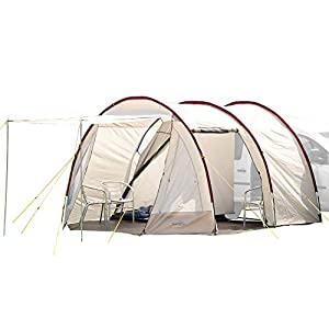 skandika camper tramp free-standing minivan awning tent with 2-berth sleeping cabin and 210 cm peak height, sand/red, 2 persons