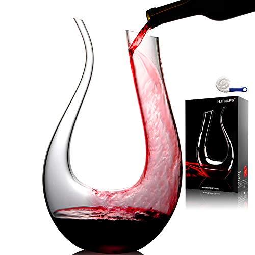 NUTRIUPS Decanter per Vino, Decanter Vino, Caraffa per Vino Rosso, Decanter Cristallo per Vino, Caraffa Vino, Rosso Vino Caraffa Decanter, 1.5L Decanter Caraffa per Vino A Forma di U (con Pennello)