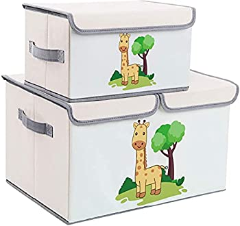 DIMJ Toy Chest with Lid Large Kids Toy Storage Box Decorative Toy Organizers Fabric Storage Bins with Handles for Boys Girls Nursery Clothes Toys Books Shelves Home Organization