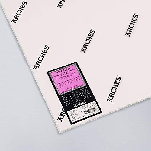 Arches, Aquarell-Papier, Blattgröße 56 x 76, 300 g, unbeschnittene Ränder, Oberflächenkörnung satiniert