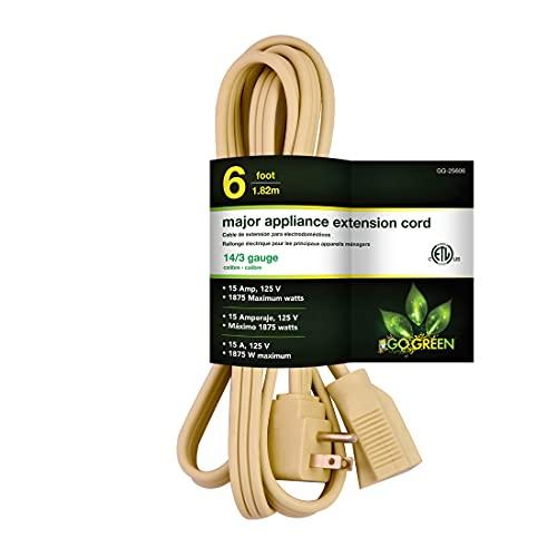Go Green Power Inc. GG-25606 6' 14/3 Appliance Cord,, Beige