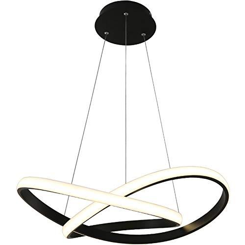 Lampe à suspension à LED table à manger Suspension lumineuse réglable avec télécommande design moderne lustre courbe hauteur réglable salle à manger salon café bar Lumière pendante 58W Ø 60CM