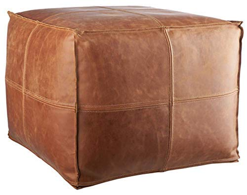 Unstuffed Square Leather Pouf Ottoman Foot Rest – Handmade Square Ottoman Leather Pouf – Genuine Leather Boho Cube Ottoman Pouf Crafted By Moroccan Artisans – 17.7 x 17.7 x 13.7 inch - Tan Brown
