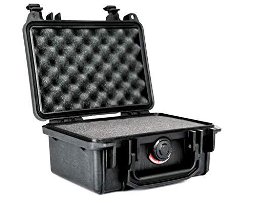PELI 1120 Wasserdichtes Case für Optische und Elektronische Instrumente , IP67 Wasser- und Staubdicht, 2L Volumen, Hergestellt in den USA, Mit Schaumstoffeinlage (Anpassbar), Schwarz