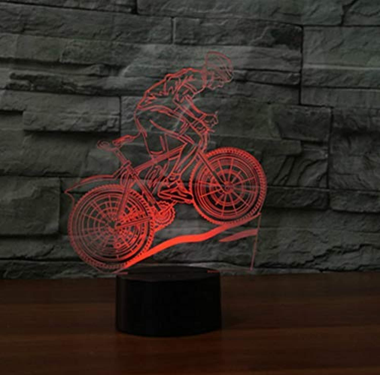 BMY Mountain Bike Desk Lamp 7 color Changing Led USB Table Lamp Novelty Enfan3D Light Fixture3D Night Light