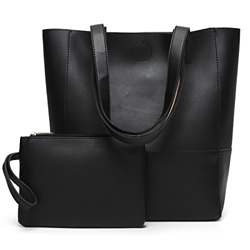 Damen Handtaschen Shopper PU Leder Messenger Bags Einkaufstasche mit EIN klein Beutel Geldbörse Schwarz