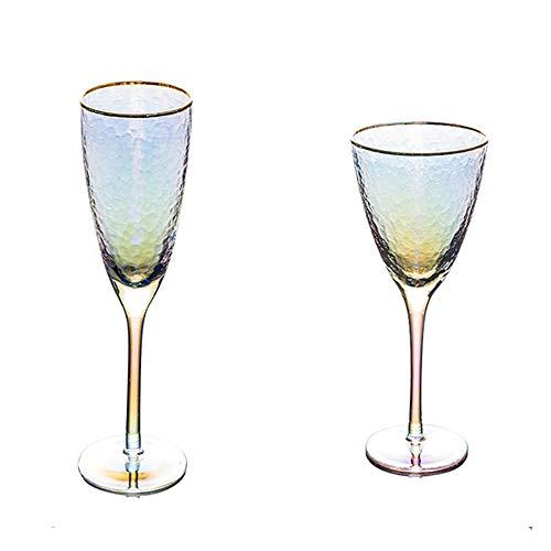 LICHAO 2er-Set Stemware, glasionbeschichtetes buntes Weinglas Champagnerglas, goldzeichnendes Kristallglas-Weingut zum Feiern der Hochzeit zum Geburtstag