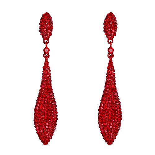 Orecchini donna,EVER FAITH Cristallo austriaco Doppio Goccia d'acqua Orecchino trafitto pendente Rosso