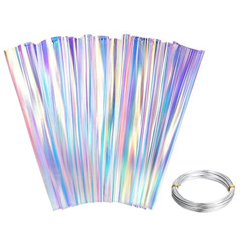 Papel de Película Iridiscente Papel de Envolver de Celofán Iridiscente de 3,3 x 16,4 Feet Papel de Celofán Arcoíris con Alambre de Aluminio para Envoltura Artesanal de Bricolaje