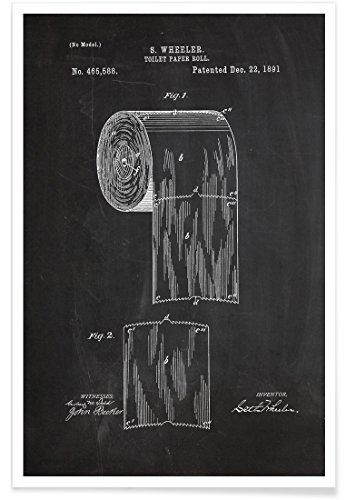 """JUNIQE® Retro Schwarz & Weiß Poster 20x30cm - Design """"Toilet Paper"""" entworfen von Stanley Print House"""