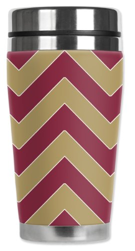 Mugzie San Francisco Football Colors Chevron Travel Mug with Insulated Wetsuit Cover, Multicolor by