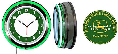 Checkingtime LLC 19  John Deer Tractors Runs Like Neon Clock, Two Neon Tubes, Green Outside Tube