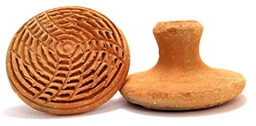 Handmade Terracotta or Clay Exfoliator - Pumice Stone, Foot Scrubber, Linear Pattern for Exfoliation or Foot Massage