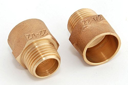 Red Nippel i/a 22mm - 1/2\' / 4243g, Rotguss (VE 2 Stk) Rotgussfitting red brass gunmetal, Klimaanlage Klimatechnik Wasser Heizung Gas Solar heating refrigerant