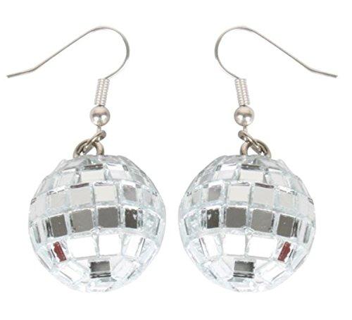 Girl's Costume Disco Ball Earrings - Silver Mirror Ball Earrings for Women