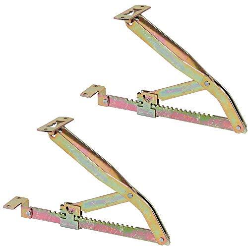 Gedotec Liegen-Hochstellstütze Rasthochstell-Beschlag 375 mm | Liegenbeschlag verstellbar | Klappenstütze in 19 Stufen | Klappenbeschlag Stahl verzinkt | 1 Paar - Verstellbeschläge für Betten & Liegen