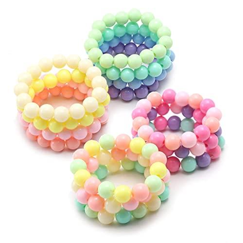 Xzbnwuviei 10 pulseras de princesa para niños y niñas, cuentas de perlas para adolescentes, juego de regalos de fiesta, disfraz de princesa