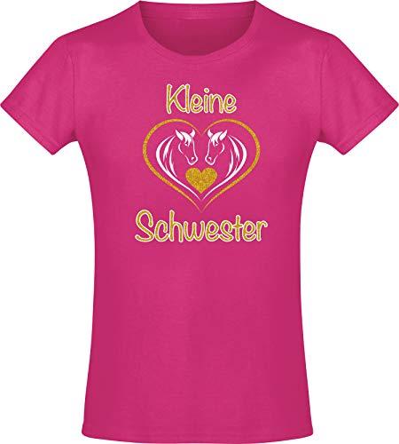 Kinder Shirt: Kleine Schwester - T-Shirt für Mädchen - Geschenk - Geburtstag - Geschwister - Sister - Pony - Pferd - Set - Herz - Familie - Glitzer - Gold - Rosa - Pink - Niedlich (128)