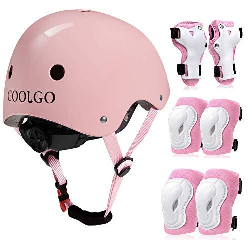 COOLGO Kinder Helm Inliner Protektoren Set, Skateboard Helm mit Schutzausrüstung Knie-Ellbogen-Handgelenk Schoner Set für Inliner Skaten Roller Skateboard Geeignet für Kinder 15-35 kg (Bright Pink)
