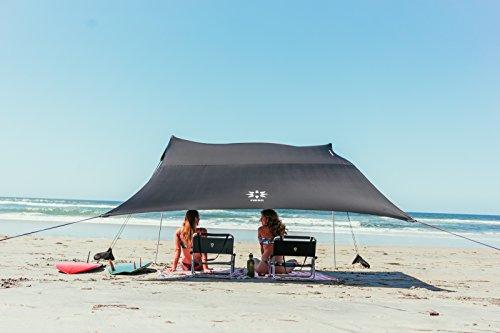 Neso Zelte Grande Beach Zelt, 2,1 m hoch, 2,8 m (9 ft) x 2,8 m (9 ft), Verstärkte Ecken und Kühlfach(Schwarz)