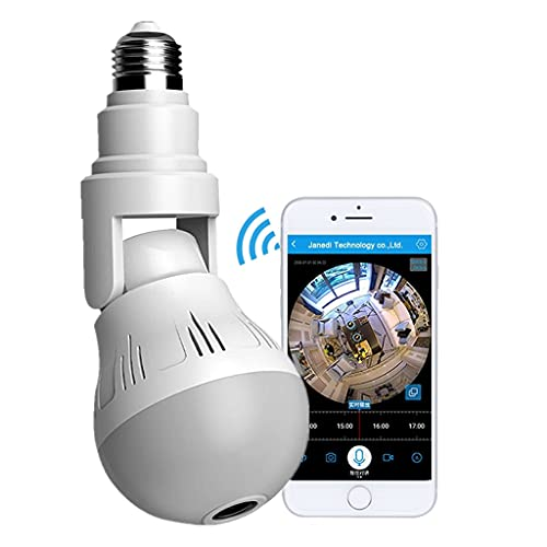 HD 1080P Light Bulb Camera Wireless 360 Degree Panoramic IP Cam Lamp-Remote Floodlight Infrared Night Vision Motion Detection, Adjustable Vertical 90°Horizontal 360° Wi-Fi Camera 100V-250V