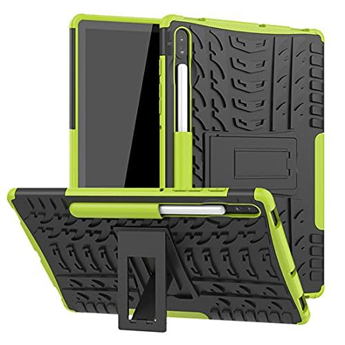 ZHIWEI Tablet PC Bolsas Bandolera Cubierta de la Tableta para Samsung Galaxy Tab S6 10.5 / T860 Textura de neumáticos TPU + PC Funda Protectora con Soporte de Mango Plegable (Color : Green)