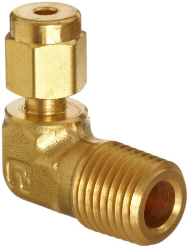 compression elbow fittings Parker A-Lok 2MSEL4N-B Brass Compression Tube Fitting, 90 Degree Elbow, 1/8