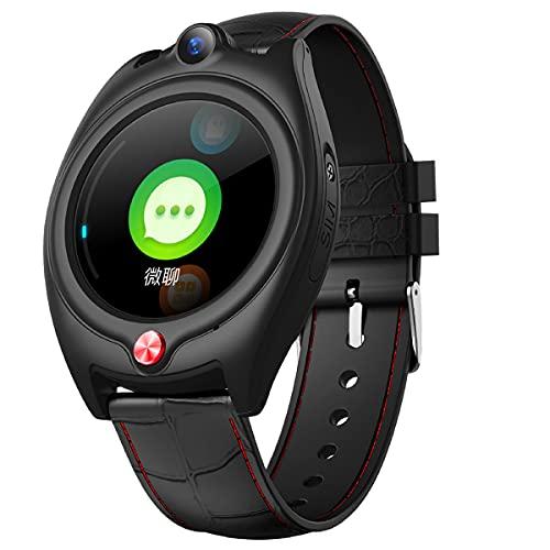 FVIWSJ Reloj Inteligente con GPS, podómetro para videollamadas 4G Geo-Fence Mensajes de Voz SOS Reloj GPS Impermeable con Seguimiento de Actividad, Pulsera Deportiva,Negro