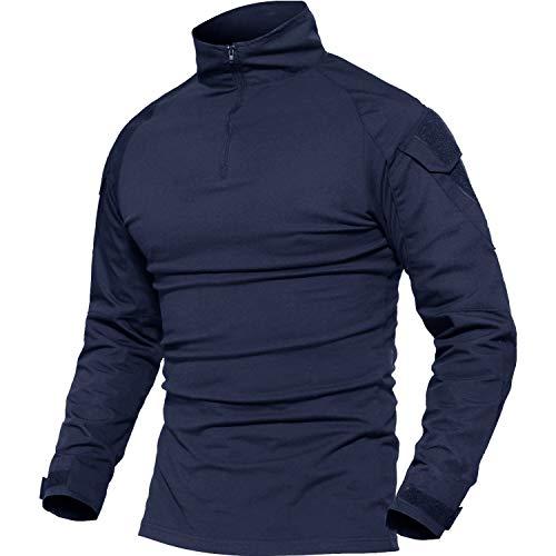 MAGCOMSEN Herren Combat Shirt Armee ACU Taktisch Oberteil Männer Sweatshirt Slim Fit Jungen Trainingsshirt Atmungsaktiv Robust Shirt Military Longleeve Blau L (Etikett 2XL)