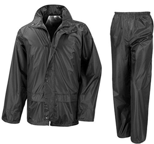 Fishing Waterproof Suit Jacket Trousers Rain Set Unisex Mens Womens Ladies Adults XXL 50 Chest Black