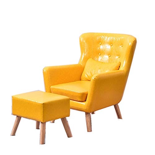 Sofa Lazy Nordic Single Ledersofa Stuhl Kleine Wohnung Wohnzimmer Lazy Schlafzimmer High Back Casual Pink Single Stuhl (Color : Yellow)
